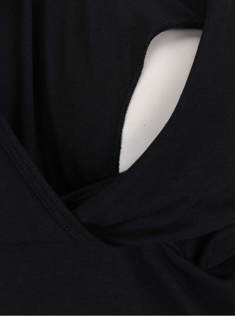 Černé těhotenské/kojicí šaty s dlouhým rukávem Mama.licious Lea