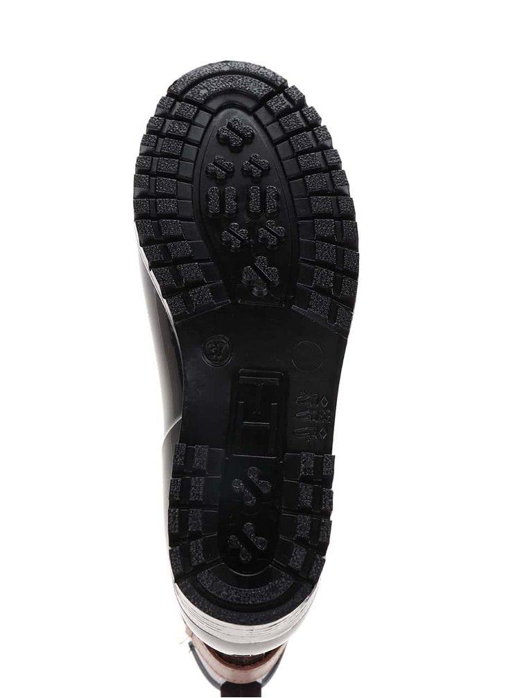 Hnědo-černé dámské gumové chelsea boty s hnědým páskem Tommy Hilfiger