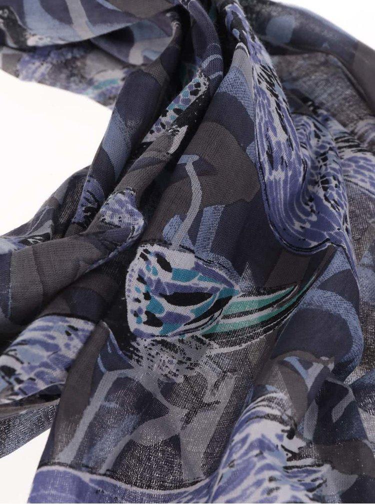 Esarfa albastru-violet cu imprimeu cu pasari Disaster Collective Noun Raven