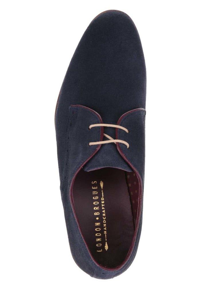 Pantofi bleumarin London Brogues Croxley din piele întoarsă