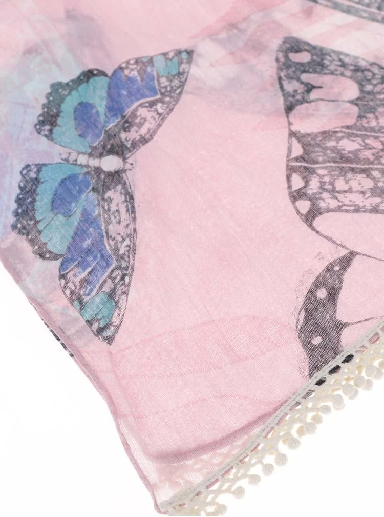 Esarfa roz cu imprimeu cu fluturi Disaster Into the wild