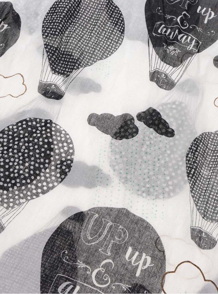Eșarfă crem cu imprimeu cu baloane Disaster Penny