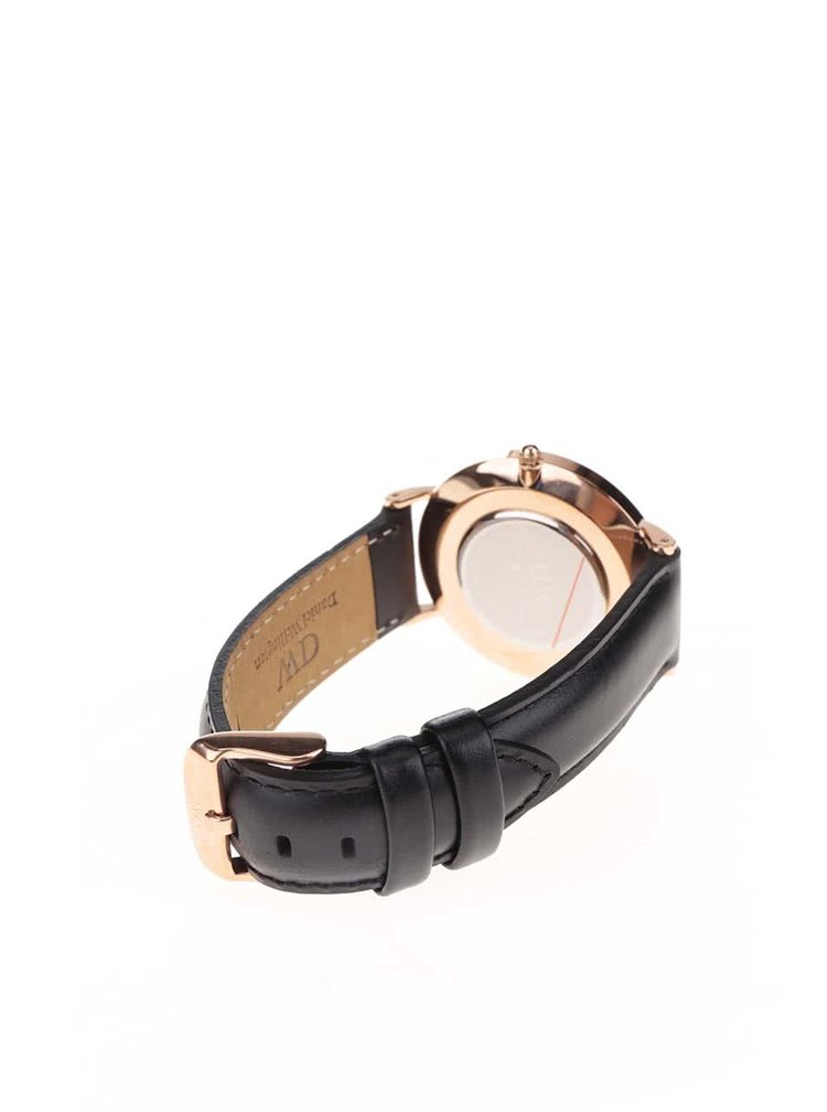 Dámské hodinky s černým koženým páskem Daniel Wellington CLASSIC Sheffield