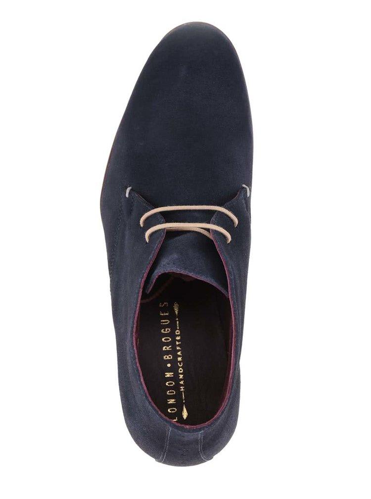 Tmavě modré semišové kotníkové boty London Brogues Croxley Chukka