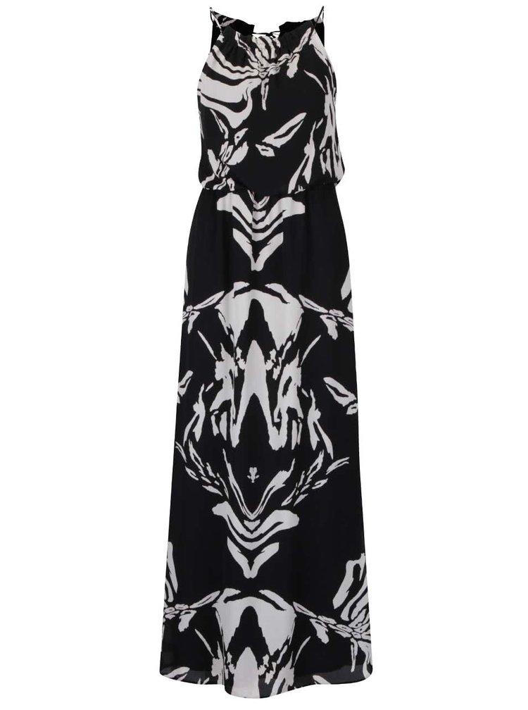 Krémovo-čierne vzorované maxišaty so sťahovaním v páse Dorothy Perkins