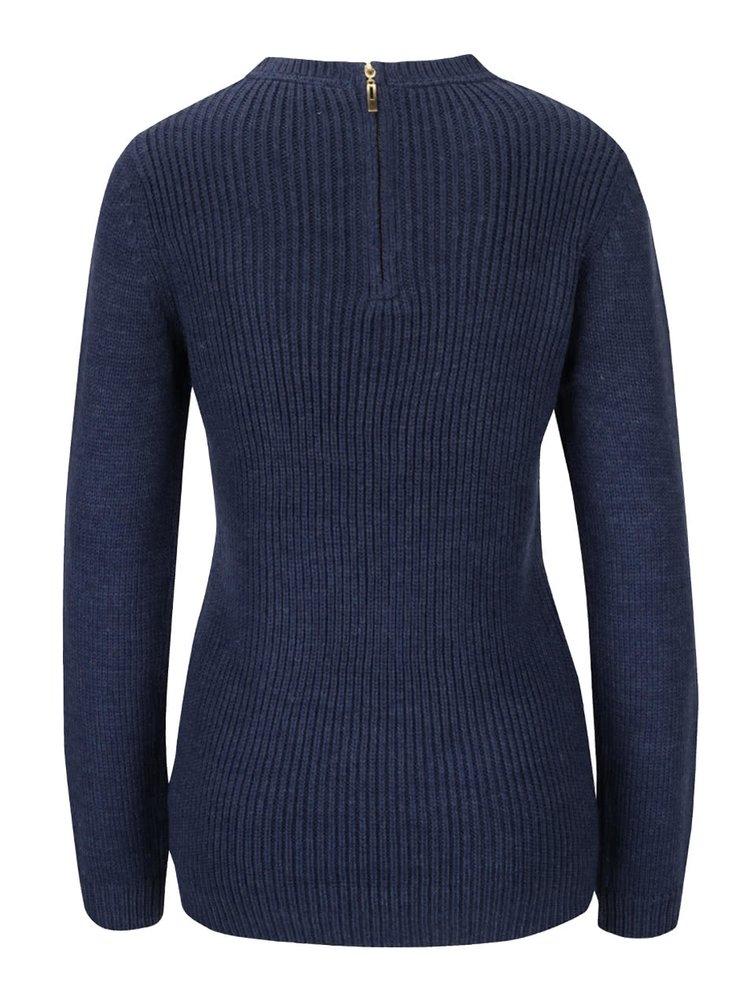 Tmavomodrý pletený sveter dlhšieho strihu Dorothy Perkins