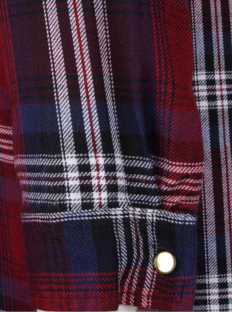 Modro-vínové kostkované košilové šaty s páskem Dorothy Perkins