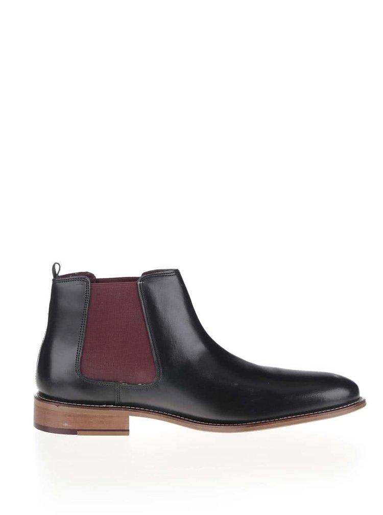 Černé lesklé kožené chelsea boty London Brogues