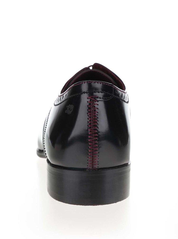 Černé lesklé pánské kožené polobotky London Brogues