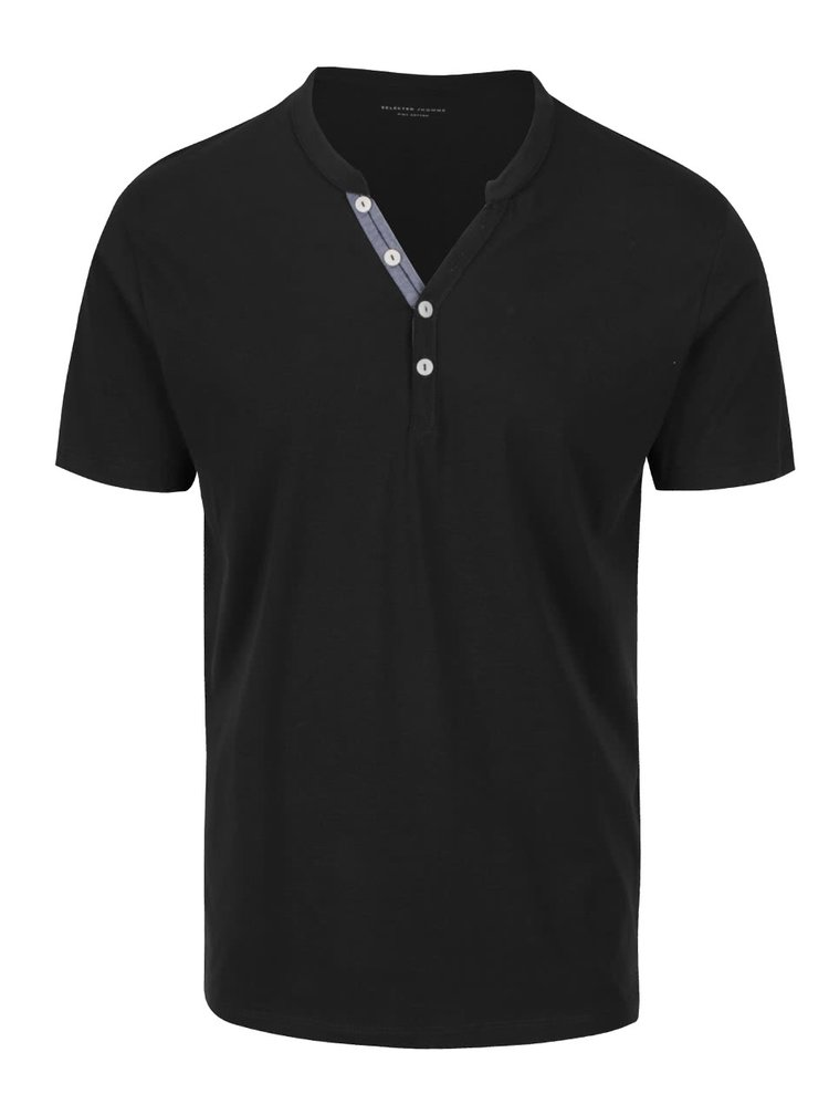 Tricou negru Selected Homme Pima