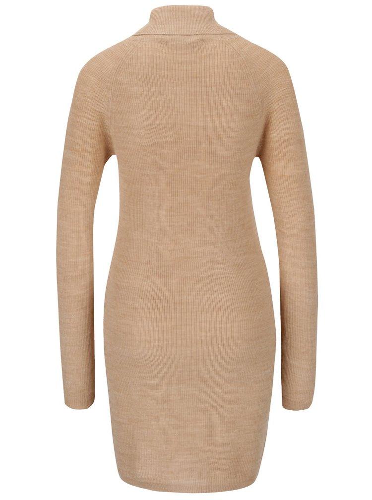 Světle hnědé svetrové šaty s rolákem Dorothy Perkins
