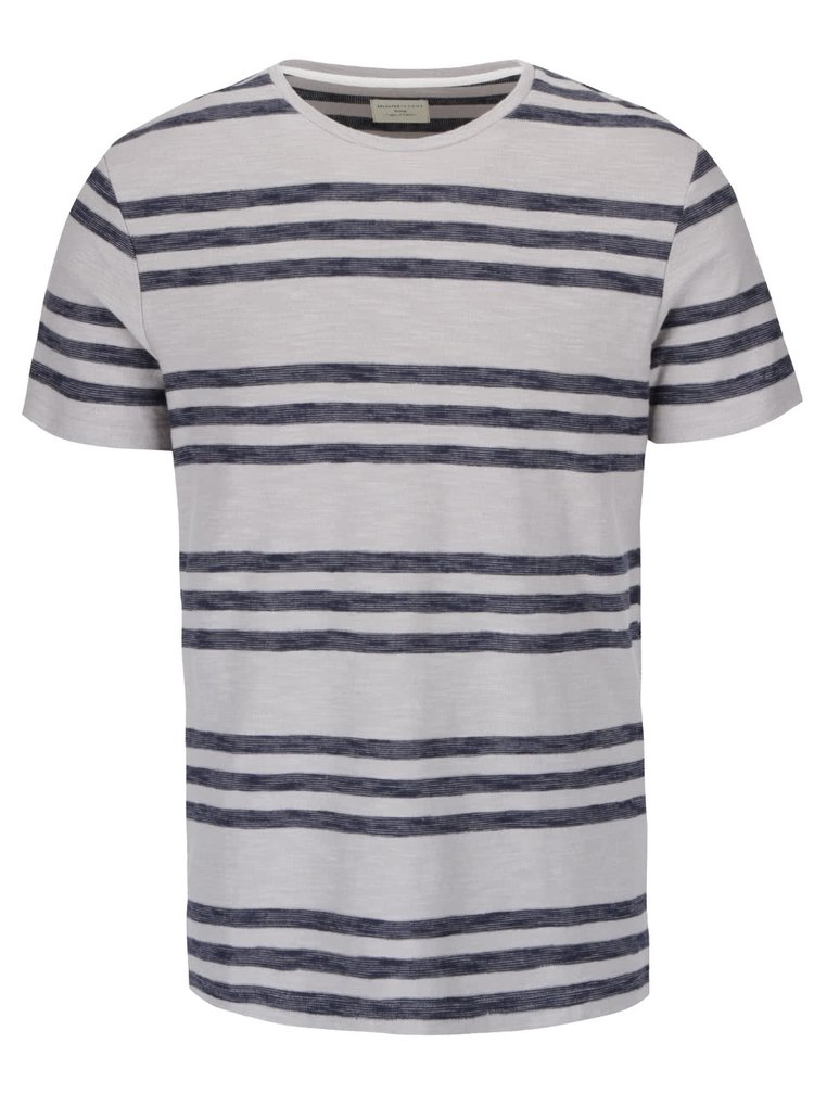Tricou gri deschis Selected Homme Kris din bumbac cu model in dungi