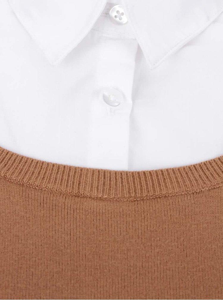 Světle hnědý svetr s košilí 2v1 Dorothy Perkins