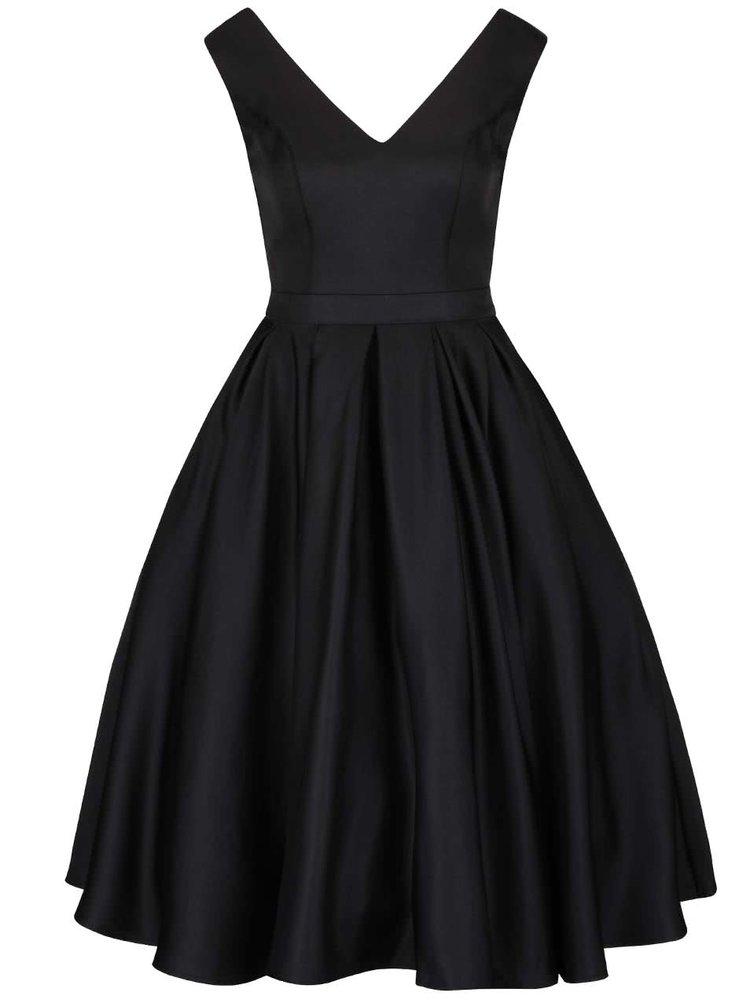 Čierne šaty s výstrihom na chrbte a tylovou sukňou Chi Chi London