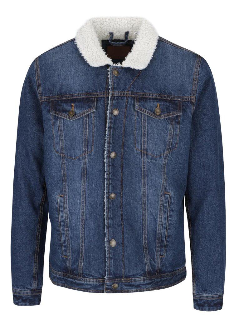 Tmavě modrá džínová bunda s kožíškem Shine Original