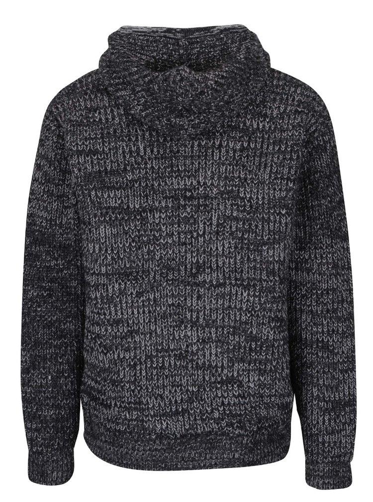 Tmavě šedý žíhaný svetr na zip s kapucí Shine Original