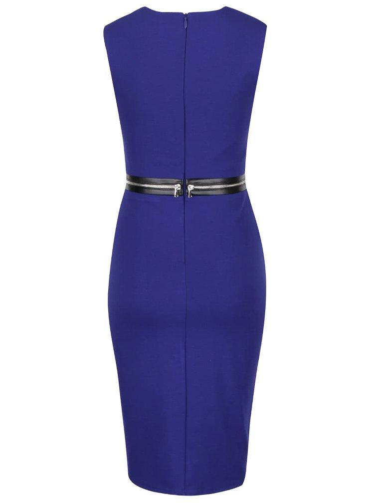 Modré šaty s ozdobným zipem kolem pasu Goddiva