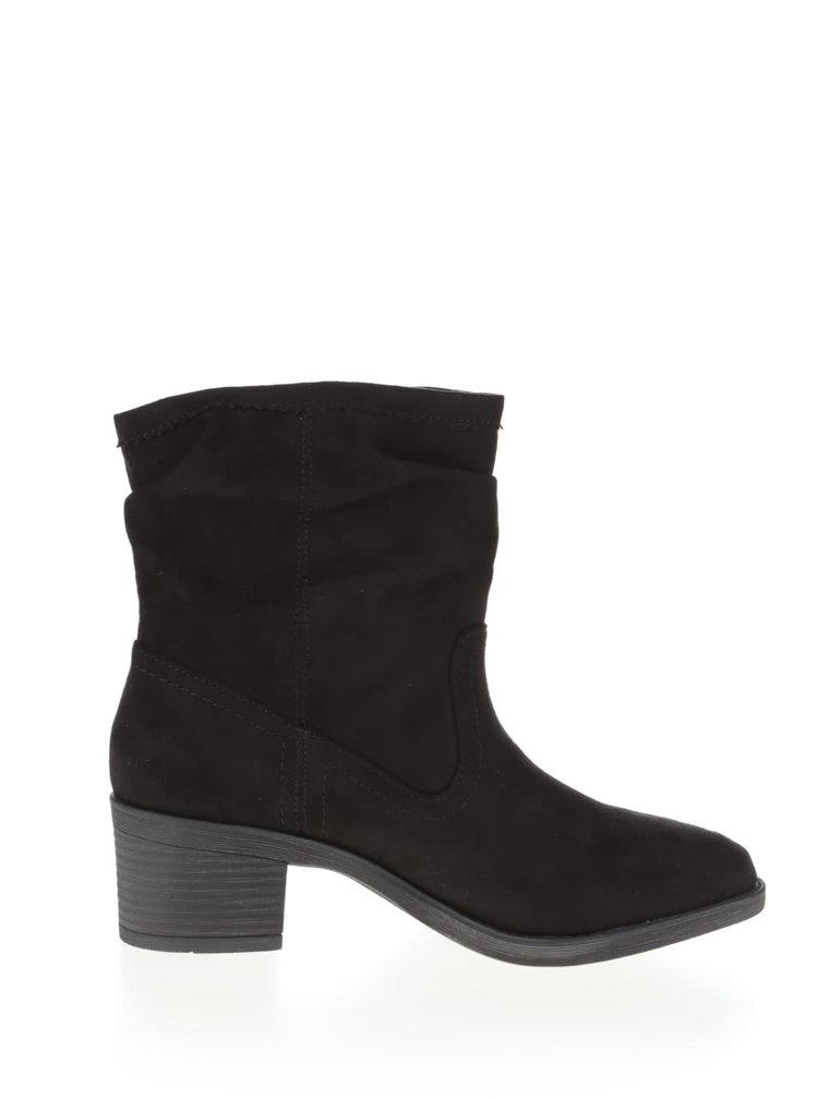Černé kotníkové boty na podpatku Dorothy Perkins