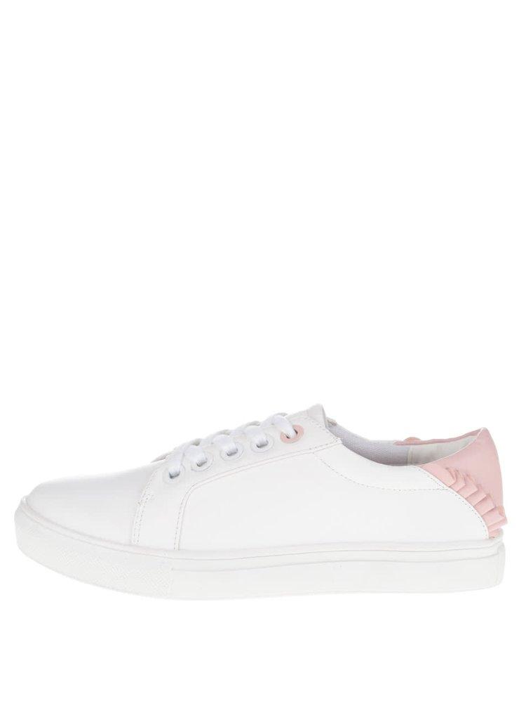 Bílé koženkové tenisky s růžovými detaily Dorothy Perkins