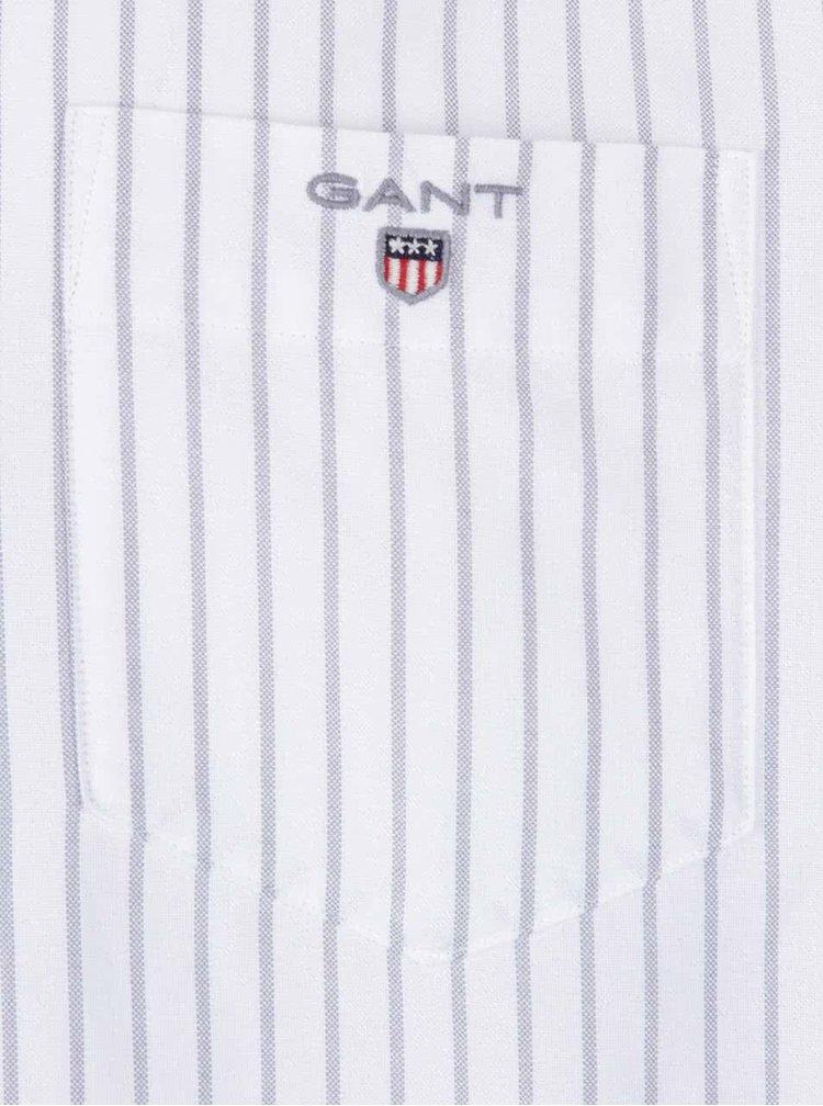 Bílá pánská košile s šedými proužky GANT