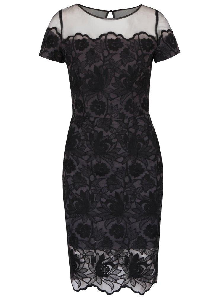 Šedo-černé šaty s květovaným vzorem Chi Chi London
