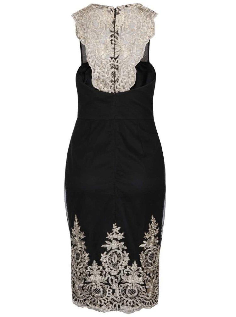 Černé šaty s krajkovými detaily ve zlatě barvě Chi Chi London