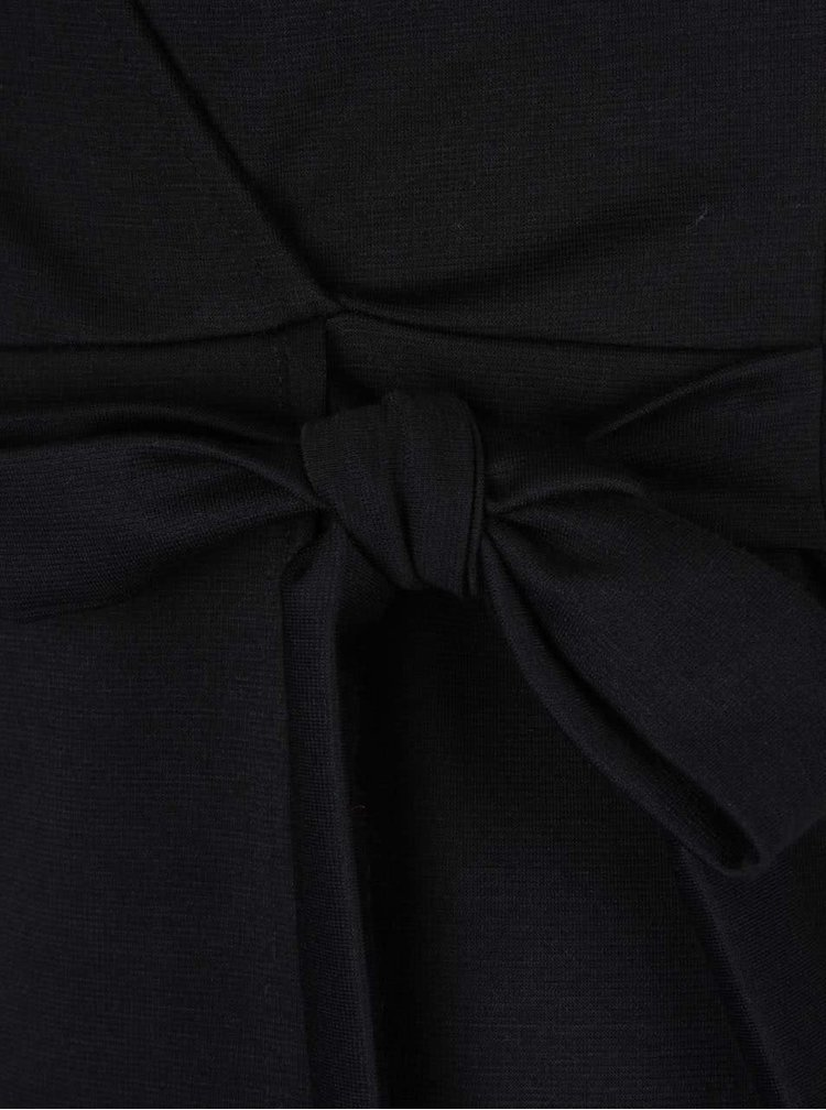 Čierne prekladané šaty so zaväzovaním v páse Dorothy Perkins