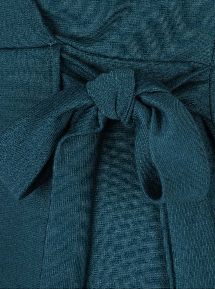 Petrolejové překládané šaty se zavazováním v pase Dorothy Perkins