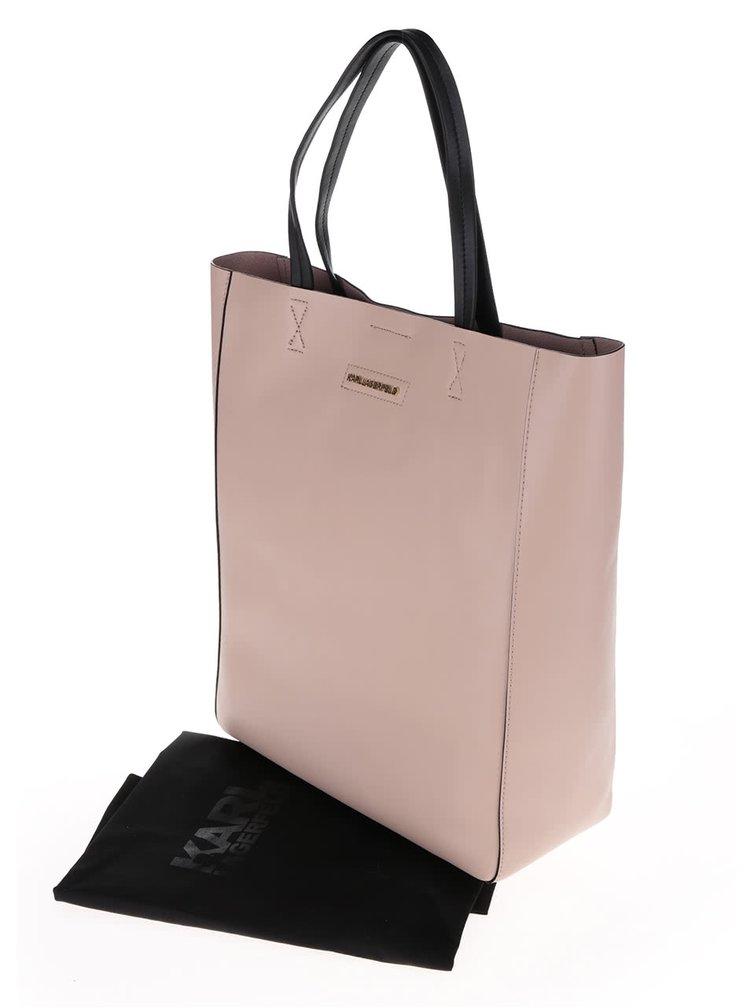 Světle růžový kožený shopper KARL LAGERFELD