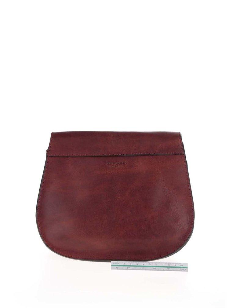 Hnedočervená kožená crossbody kabelka No.66 Vagabond