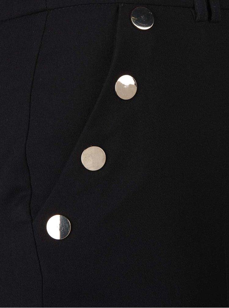Černé formální kalhoty s patentkami ve zlaté barvě Dorothy Perkins