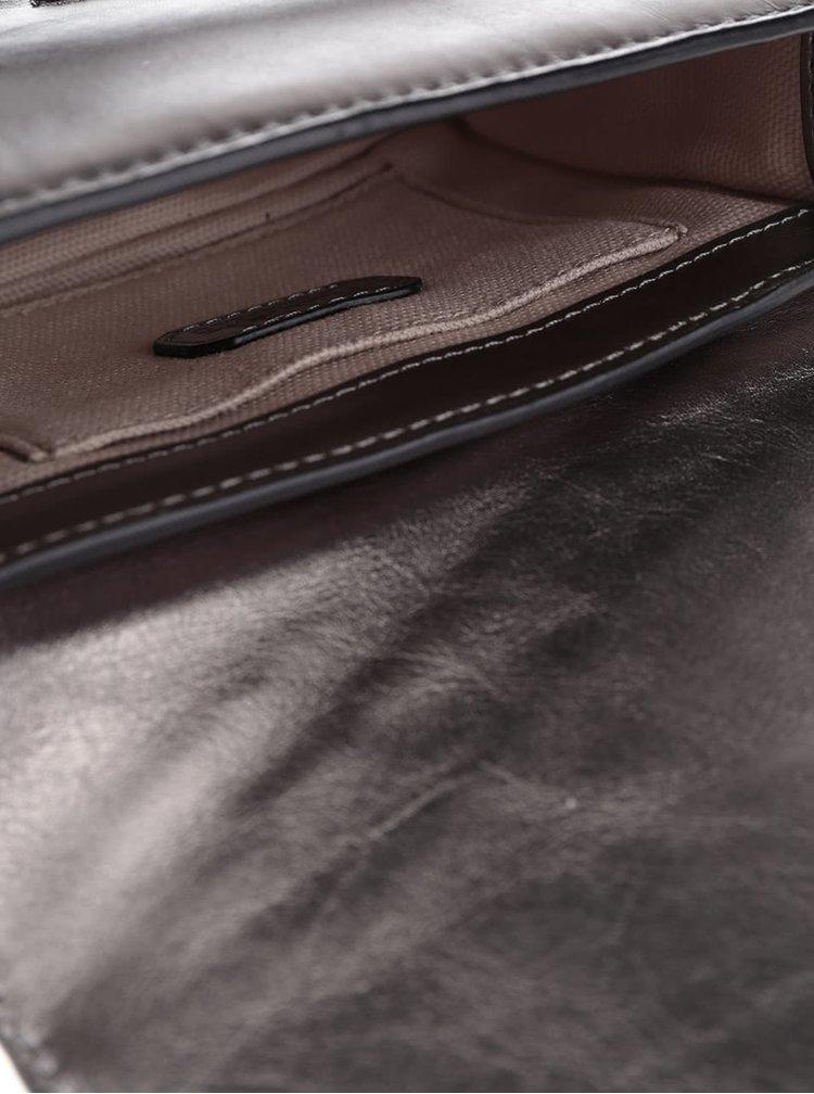 Kožená malá crossbody kabelka ve zlaté a stříbrné barvě KARL LAGERFELD