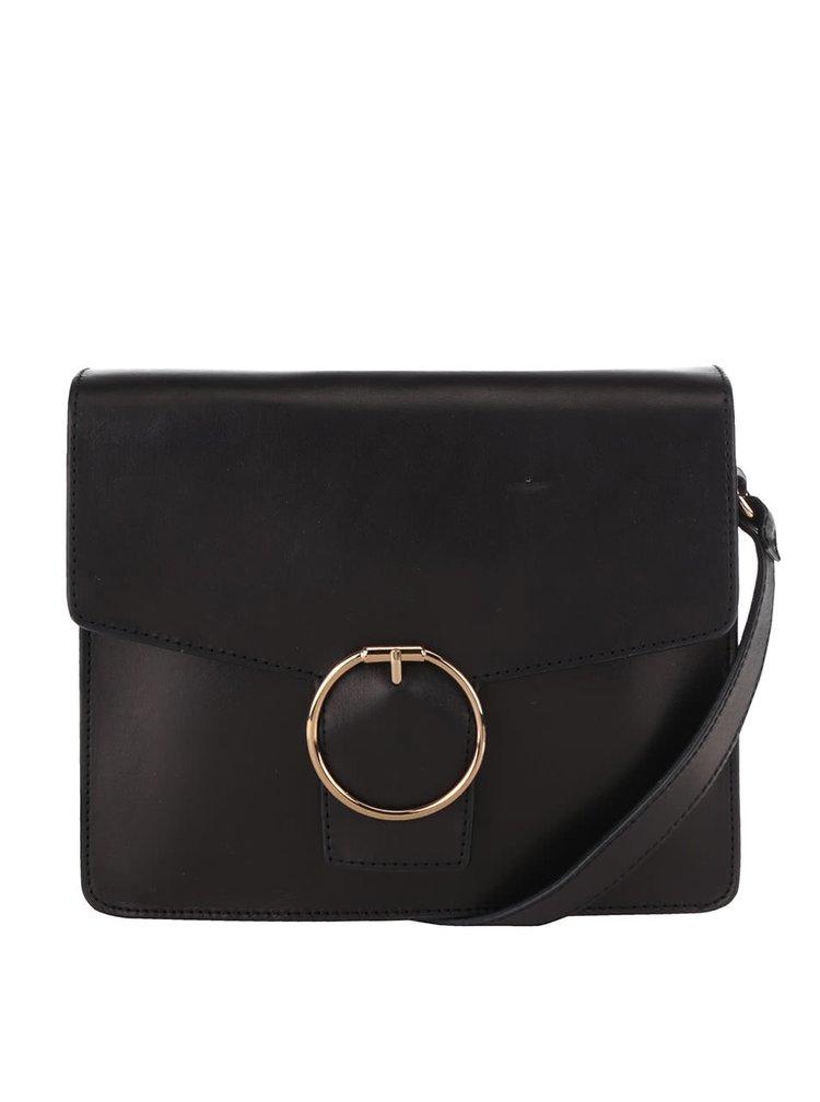 Čierna kožená crossbody kabelka s ozdobnou prackou No. 80 Vagabond