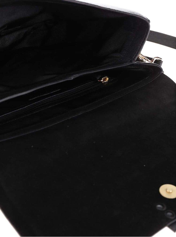 Černá kožená crossbody kabelka s klopou No.78 Vagabond