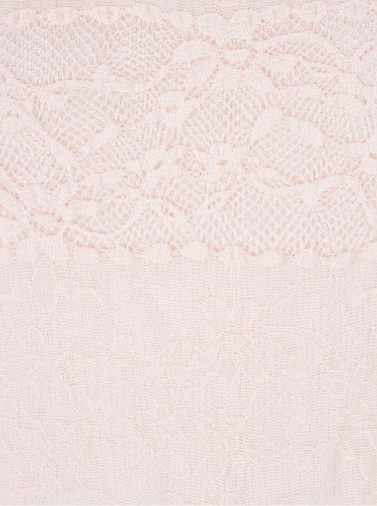 Světle růžové krajkové tričko s dlouhými rukávy Dorothy Perkins