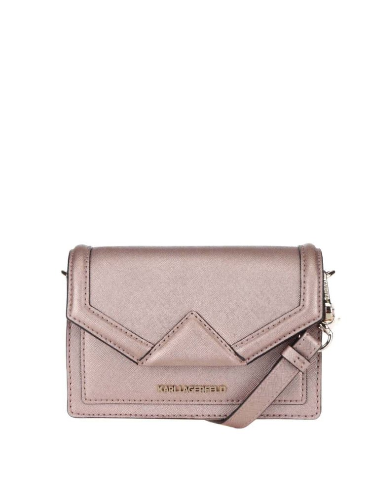 Kožená malá crossbody kabelka v růžovozlaté barvě KARL LAGERFELD