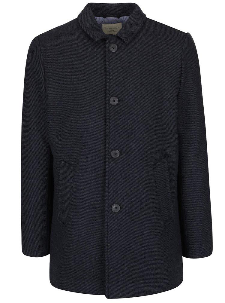 Tmavě modrý kabát s příměsí vlny Selected Homme New Mash