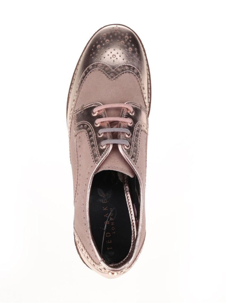 Kožené polobotky v růžovozlaté barvě Ted Baker Anoihe