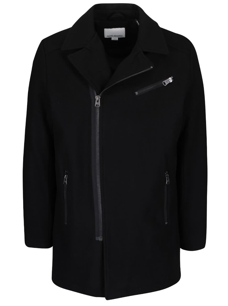 Čierny vlnený kabát s asymetrickým zapínaním Shine Original