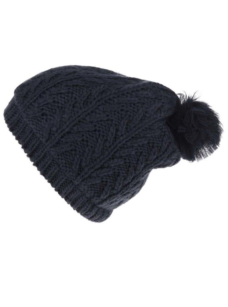 Tmavomodrá dievčenská čiapka s tylovým brmbolcom name it Maluki