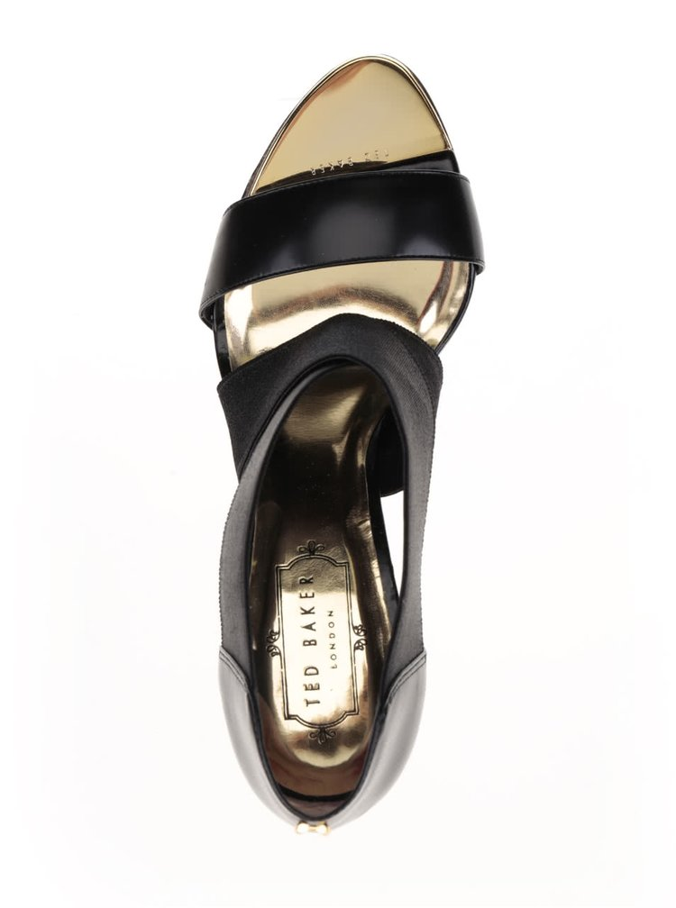 Černé kožené sandálky na podpatku Ted Baker Leniya