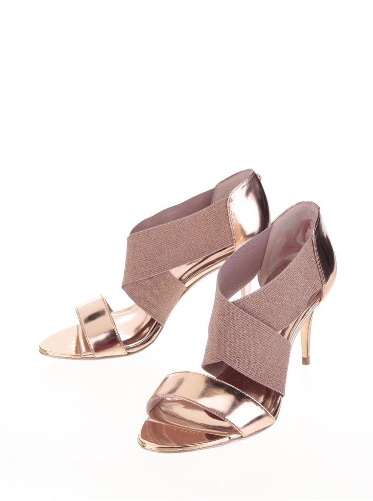 Sandály na podpatku v růžovozlaté barvě Ted Baker Leniya