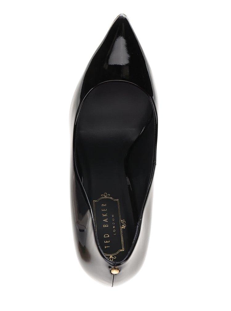 Pantofi negri din piele, cu aspect lăcuit Ted Baker Neevo