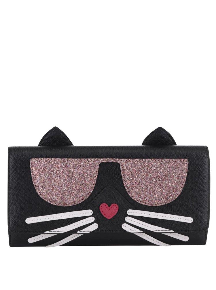 Černá peněženka s motivem kočky KARL LAGERFELD
