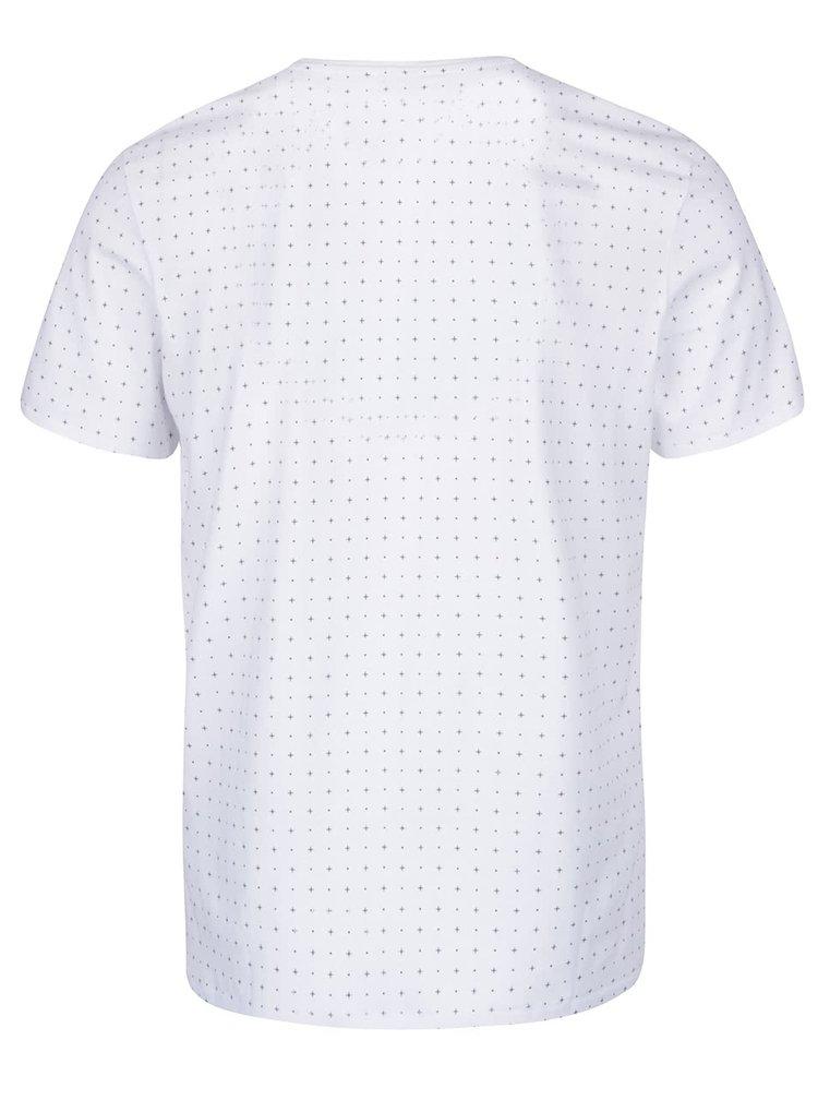 Biele vzorované tričko Selected Homme Newton