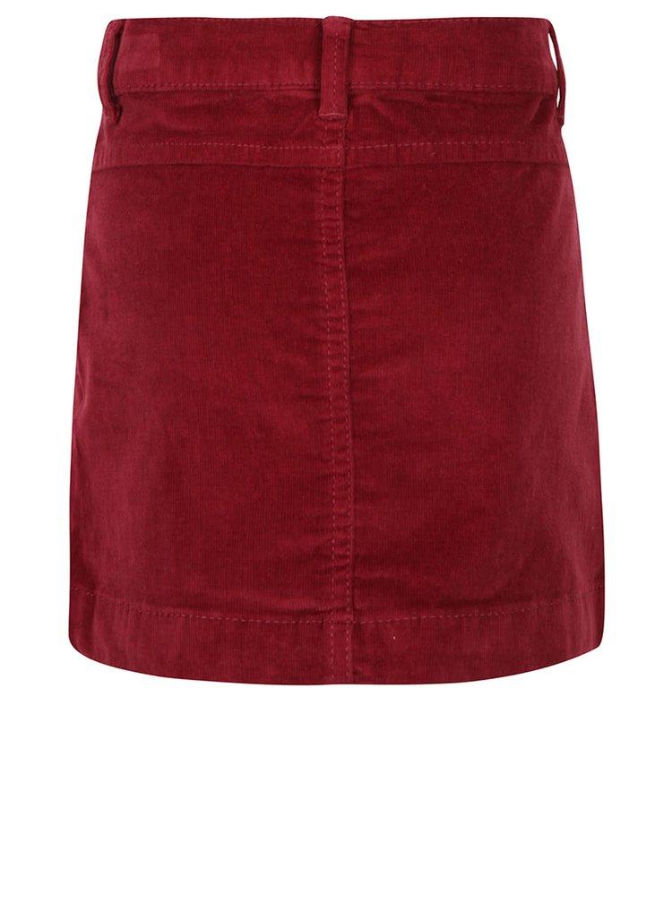 Vínová menčestrová sukňa s gombíkmi name it Lone
