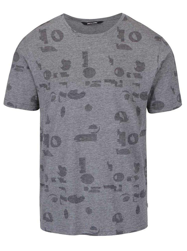 Tmavě šedé triko s potiskem ONLY & SONS Age