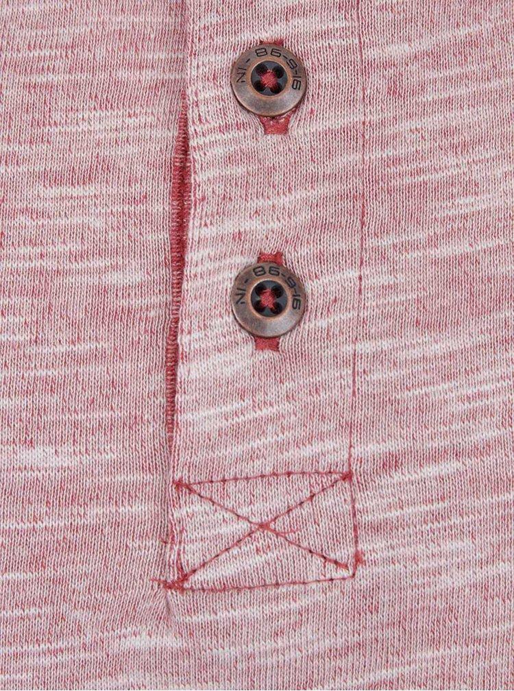 Tehlové chlapčenské melírované tričko s dlhými rukávmi a gombíkmi name it Lintage