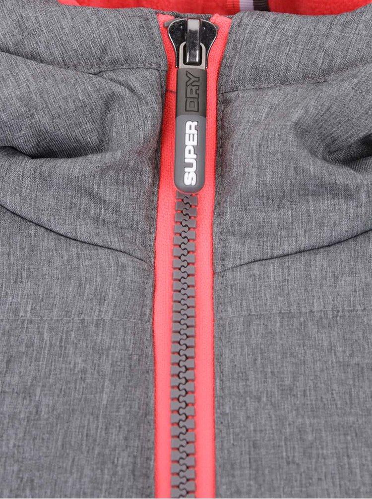 Sivá dlhšia dámska prešívaná bunda s ružovými detailmi Superdry