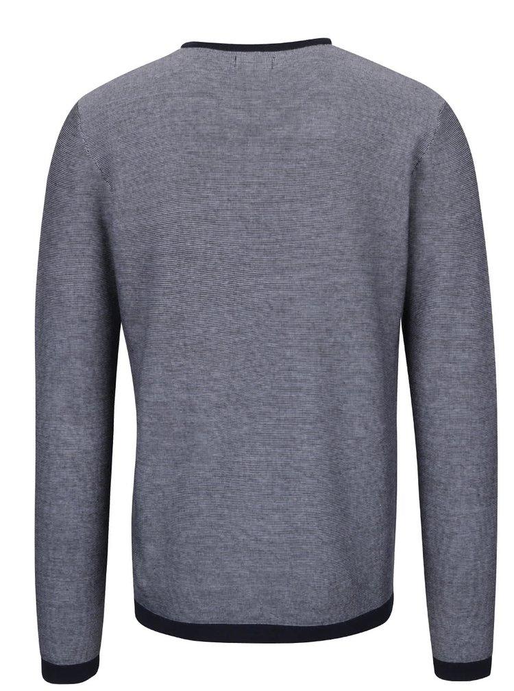 Krémovo-modrý žíhaný lehký svetr Jack & Jones